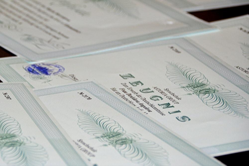 сертификати Асториа Груп